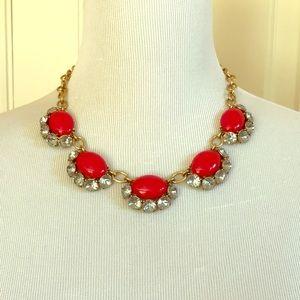 Stella & Dot Red Stone Statement Necklace